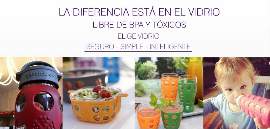 La diferencia está en el vidrio. Libre de BPA y tóxicos. Elige vidrio: seguro, simple, inteligente
