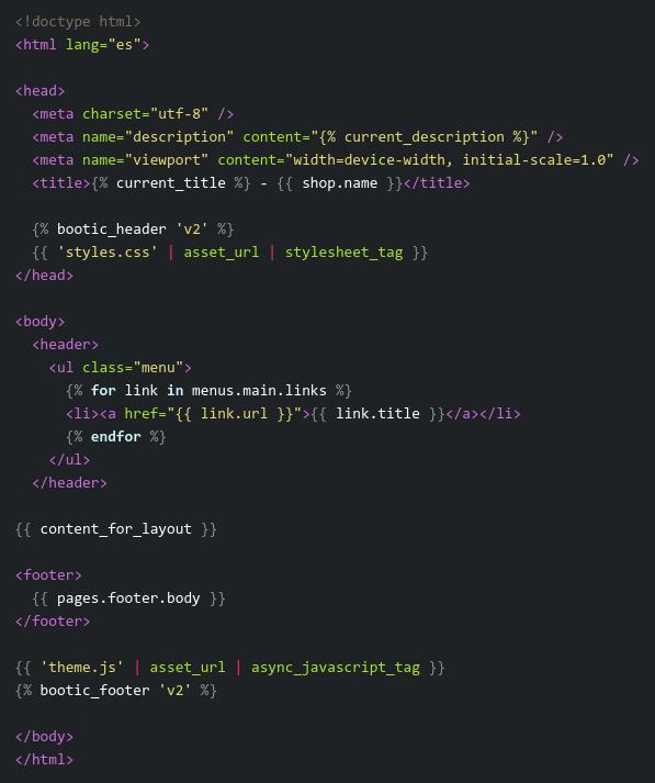 Codigo de una plantilla layout html simple